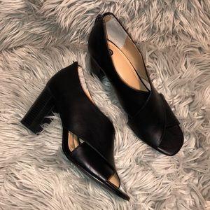 Anthro peep toe sandal heels 10 vegan leather